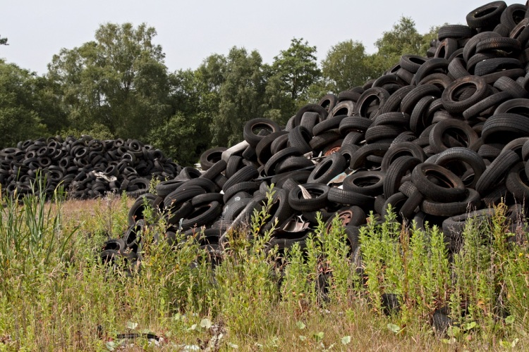 Tyres at Furber's Yard on the edge of Whixall Moss UK